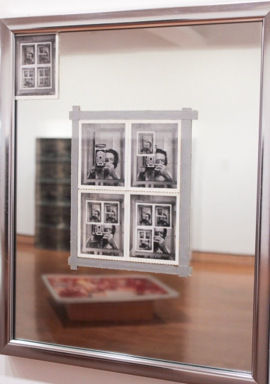 "Snow, Michael, ""Authorization"", 1969, Five instant silver prints (Polaroid 55, adhesive tape, mirror, metal frame) 21 7/16 x 17 1/2 inches"